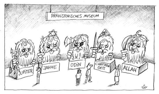 Gottheiten im prähistorischen Museum (mit Christengott und Allah)